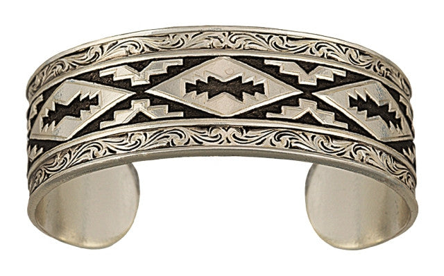 (MSBC1107RTS) Western Antiqued Steps Pattern Cuff Bracelet