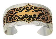 (MSBC1455) Golden Horses Cameo Western Cuff Bracelet by Montana Silversmiths
