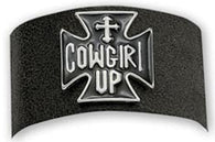 "(MSBC60517) ""Cowgirl Up"" Leather Snap Bracelet by Montana Silversmiths"
