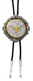 "(MSBT366-384S) ""Longhorn"" Silver & Gold Bolo Tie"