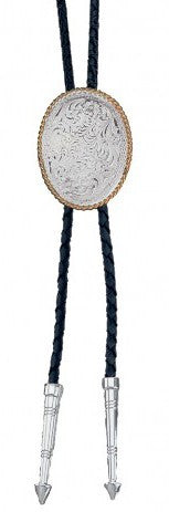 (MSBT39) Western Engraved Silver Bolo Tie