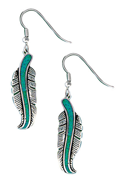 (MSER1320) Western Turquoise Feather Dangle Earrings