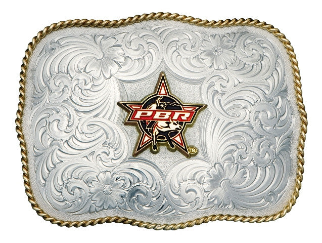 (MSG868-PBR3F) PBR Bull Square German Silver Belt Buckle by Montana Silversmiths