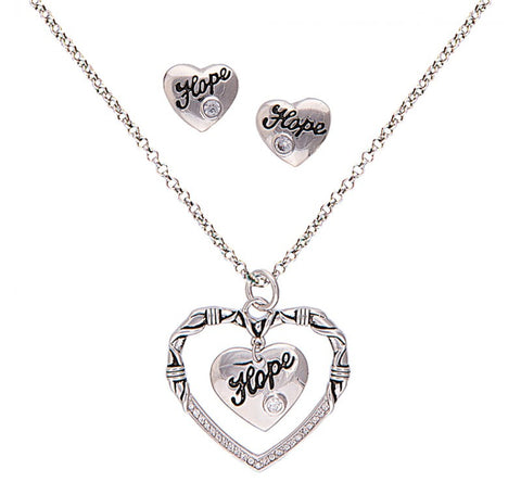 (MSJS1477) Cowgirl's Heart of Hope Necklace and Earrings
