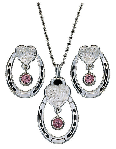 (MSJS60480) Western Silver Heart & Horseshoe Neclace & Earrings with Pink CZ Stones