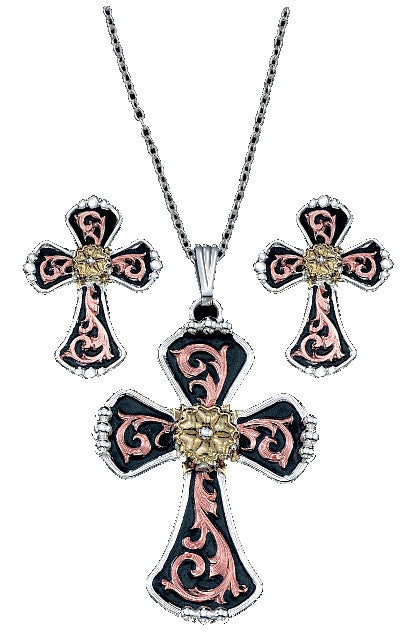 (MSJS60979) Western Tri-Color Filagress Cross Necklace & Matching Earrings