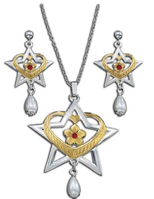 (MSJS61053) Western Heart, Star, Flower and Pearl Drop Jewelry Set