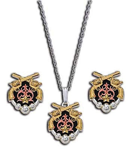 (MSJS61215) Western Tri-Color Pistols Necklace & Earring Set