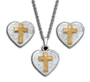 (MSJS61273) Western Silver & Gold Cross Heart Necklace & Earrings