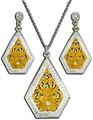 (MSJS61392) Western Diamond Rio Necklace & Earrings