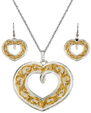 (MSJS61399) Western Gold & Silver Filagree Heart Necklace & Matching Earrings by Montana Silversmiths