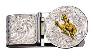 (MSMCL23-593XS) Bucking Horse Hinged Money Clip by Montana Silversmiths
