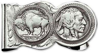 (MSMCL50) Western Genuine Buffalo Indian Nickel Money Clip