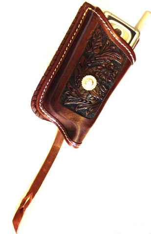 (MSMSL291) Western Tooled Mahogany Leather Quick Draw Cell Phone Holder