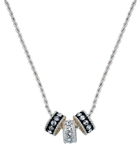 (MSNC1032) Western Crystal Shine Three Ring Necklace