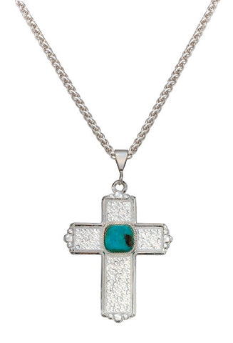 (MSNC1153) Western Hammered Silver & Blue Earth Cross Necklace