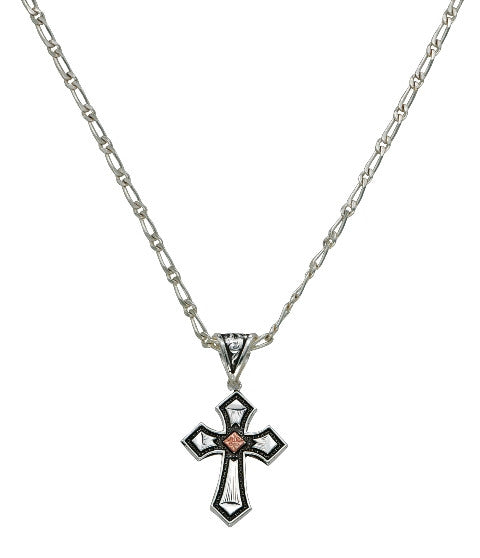 (MSNC1161) Western Antique Copper Diamond Cross Necklace