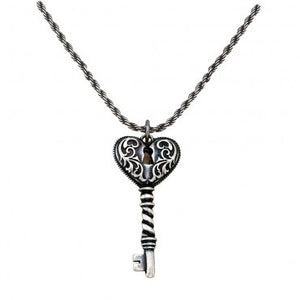 "(MSNC1184) ""Key to my Heart"" Antiqued Filigree Necklace"