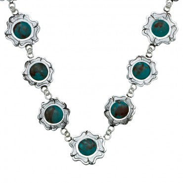 (MSNC1214) Cabochon Flowers Western Necklace by Montana Silversmiths