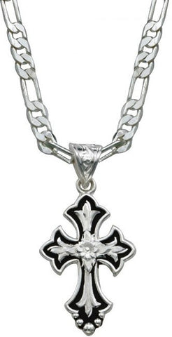 (MSNC1218) Flower On Silver & Black Cross Fluery Necklace