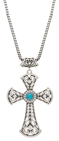 (MSNC2072TR47) Western Blue Stone Heart Scroll Cross Necklace by Wrangler