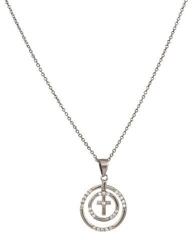 (MSNC2515) Western Fellowship Circle Cross Necklace