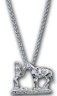"(MSNC60839) ""Between Friends"" Western Silver Necklace by Montana Silversmiths"