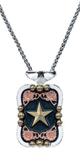Load image into Gallery viewer, (MSNC60977) Western Tri-Color Filagree Rectangular Star Necklace by Montana Silversmiths