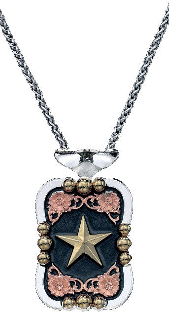(MSNC60977) Western Tri-Color Filagree Rectangular Star Necklace by Montana Silversmiths