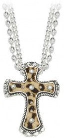 (MSNC61511CZ) Cheetah Hair-On Cross Necklace by Montana Silversmiths
