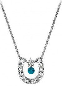 (MSNC61523TQ) Crystal Horseshoe with Turquoise Western Necklace