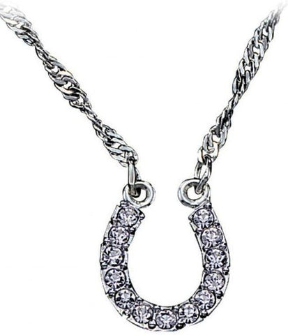 (MSNC62) Crystal Clear Lucky Horseshoe Western Necklace