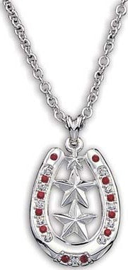 (MSNC999) Western Silver Horseshoe & Stars Necklace with Red Stones