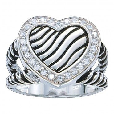 "(MSRG9CZ) ""A Big Heart"" Western Ring by Montana Silversmiths"