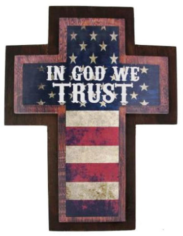 "(MSSIGN191) ""In God We Trust"" Wood Cross Sign"
