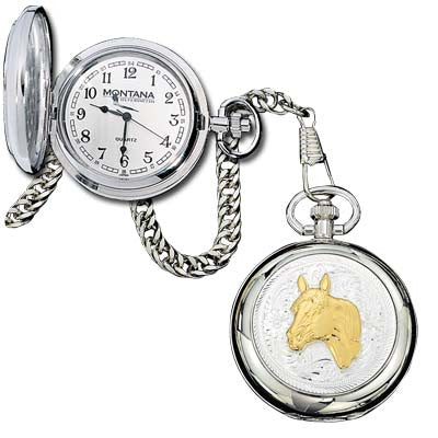(MSWATCHP20) Western Pocket Watch with Any Figure (Horse Head Shown)