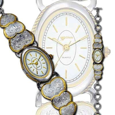 (MSWATCH79) Western Ladies' Silver Triple Heart Watch