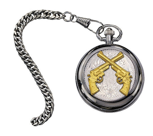 (MSWATCHP20-55) Crossed Pistols Small Silver Inlay Pocket Watch