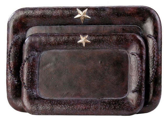 (MSWD101) Rustic Star Serving Trays (Set of 2)