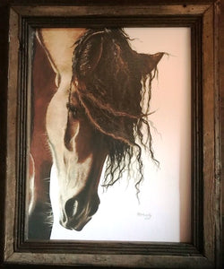 """Mustang"" Western Canvas Print with Reclaimed Barn Wood Frame"