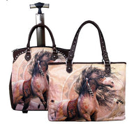 (MW05L4-6) Western Horse Art 2-Piece Luggage Set