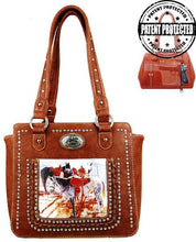 Load image into Gallery viewer, Montana West Horse Art Concealed Handgun Tote  - Brown