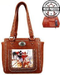 Montana West Horse Art Concealed Handgun Tote  - Brown
