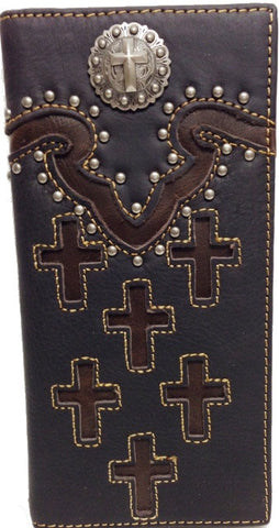 (MWCHW088073BK) Western Faux Leather Rodeo Wallet with Cross Concho - Black