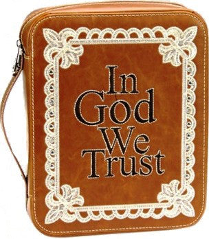 "(MWDC003BN) ""In God We Trust"" Bible Cover Brown"