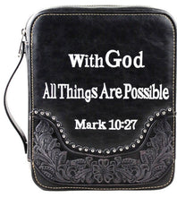 "Load image into Gallery viewer, (MWDC004-OTBK) ""With God"" Western Bible Cover - Black"