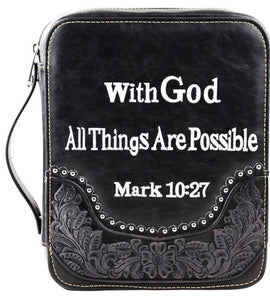 "(MWDC004-OTBK) ""With God"" Western Bible Cover - Black"