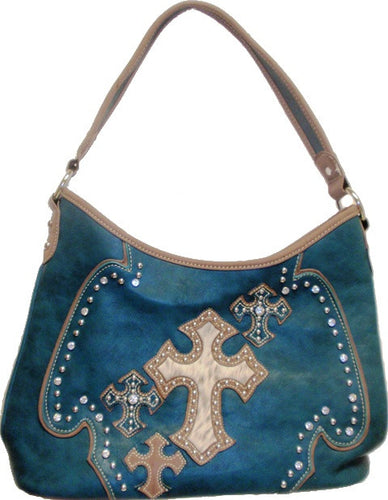 (MWFB918TQ) Western Turquoise Purse with Hair-On Crosses