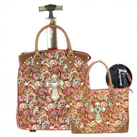 (MWFBCL004-5RD) Western 2-Piece Paisley Luggage Set with Cross and Handgun Pocket - Red