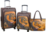 (MWL03-L001-2-6) Western Horse Art 3-Piece Wheeled Luggage Set